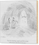 A Cavewoman Talks To A Caveman Who Is Leaving Wood Print