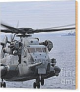 A Ch-53e Super Stallion Conducts Flight Wood Print