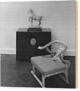 A Chair, Bedside Cabinet And Sculpture Of A Horse Wood Print