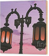 A Characteristic Lamp Post In The City Of Dahab At Dusk Wood Print