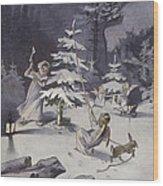 A Cherub Wields An Axe As They Chop Down A Christmas Tree Wood Print