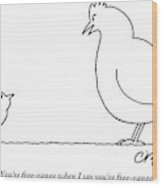 A Chicken Tells Her Baby Chick Wood Print