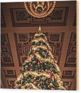 A Christmas Tree At Union Station Wood Print