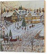 A Christmas Village Wood Print by Doug Kreuger