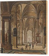 A Church Interior With Elegant People Wood Print