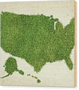 United State Grass Map Wood Print by Aged Pixel