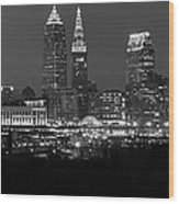 A Cleveland Black And White Night Wood Print