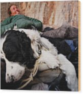 A Climber And Her Dog Lay Wood Print