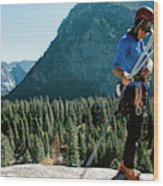 A Climber At The Top Of Pitch 3 On Swan Wood Print
