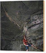 A Climber On A Rock Face Wood Print