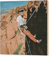 A Climber On Panty Wall In Red Rock Wood Print