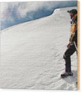 A Climber On The Glacier Of Cotopaxi Wood Print