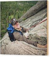 A Climber Reaches His Hand In A Crack Wood Print