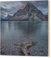A Cloudy Day In Bow Lake Wood Print