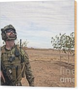 A Coalition Force Member Looks For Air Wood Print