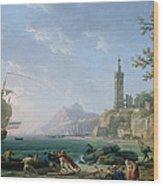 A Coastal Mediterranean Landscape Wood Print