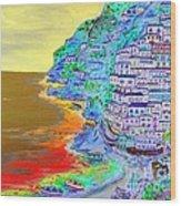 A Coastal View Of Positano Wood Print