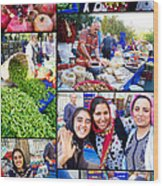 A Collage Of The Fresh Market In Kusadasi Turkey Wood Print