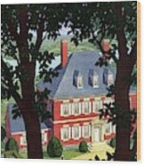 A Colonial Manor House Wood Print