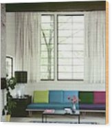 A Colourful Living Room Wood Print