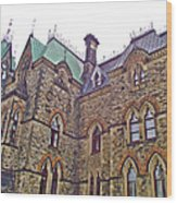 A Corner Of Parliament Building In Ottawa-on Wood Print