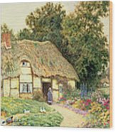 A Cottage By A Duck Pond Wood Print
