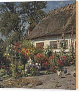 A Cottage Garden With Chickens Wood Print