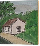 A Cottage Next To The Pathway Wood Print