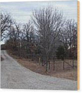 A Country Driveway Near The Brazos River Wood Print