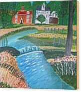 A Country Stream Wood Print