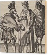 A Couple Addressed By A Lute Player Wood Print