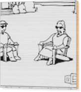 A Couple Are Sitting And Talking On Lawn Chairs Wood Print