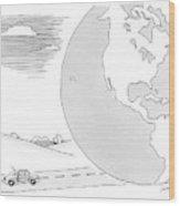 A Couple Drives Towards A Giant Earth Wood Print