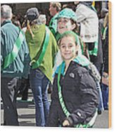 A Couple Girls Enjoying Themselves In The 2009 New York St. Patrick Day Parade Wood Print