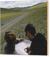 A Couple Hiking Across The Atlai Wood Print