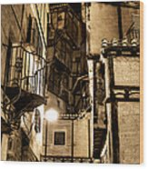 A Couple In A Little Restaurant In The Ancient City Of Albarracin Wood Print