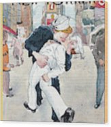 A Couple Reenacts A Famous World War II Kiss Wood Print
