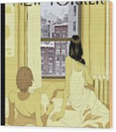 A Couple Stays In Bed While It Snows In The City Wood Print