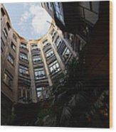 A Courtyard Curved Like A Hug - Antoni Gaudi's Casa Mila Barcelona Spain Wood Print