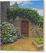 A Courtyard In Brittany France Wood Print