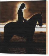 A Cowgirls Prayer Evening Ride Wood Print