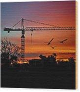 A Crane And Three Birds Wood Print