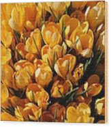 A Crowd Of Crocuses Wood Print