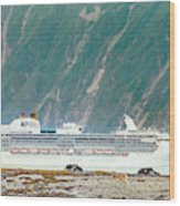A Cruise Ship Passes By A Wolf Roaming Wood Print
