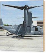 A Cv-22b Osprey On The Ramp At Hurlburt Wood Print
