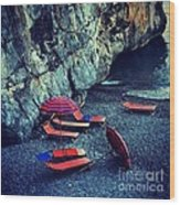 A Day At The Beach Wood Print by H Hoffman