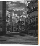 A Day At The Dock Wood Print