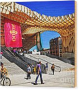 A Day At The Parasol Metropol Wood Print