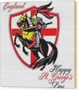 A Day For England Happy St George Day Retro Poster Wood Print