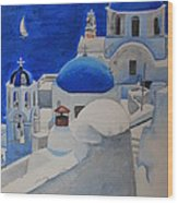 A Day In Santorini Wood Print